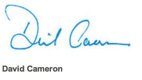 David Cameron signature
