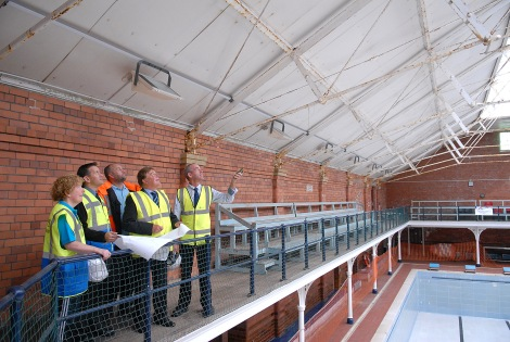 Baths Manager Jackie Hickie, contractors Paul Harris (Faircloughs) and Dave Jones ( Oil and Gas Safe.) Councillor Stuart Parker and structural engineer Dave Hodgson (Huxtable Hodgson) inspect the repair works at the City Baths.