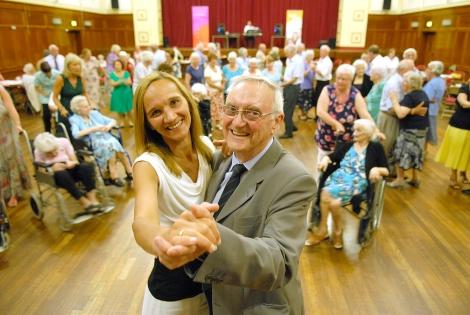 Cllr Keith Board (r) at the Ellesmere Port tea dance